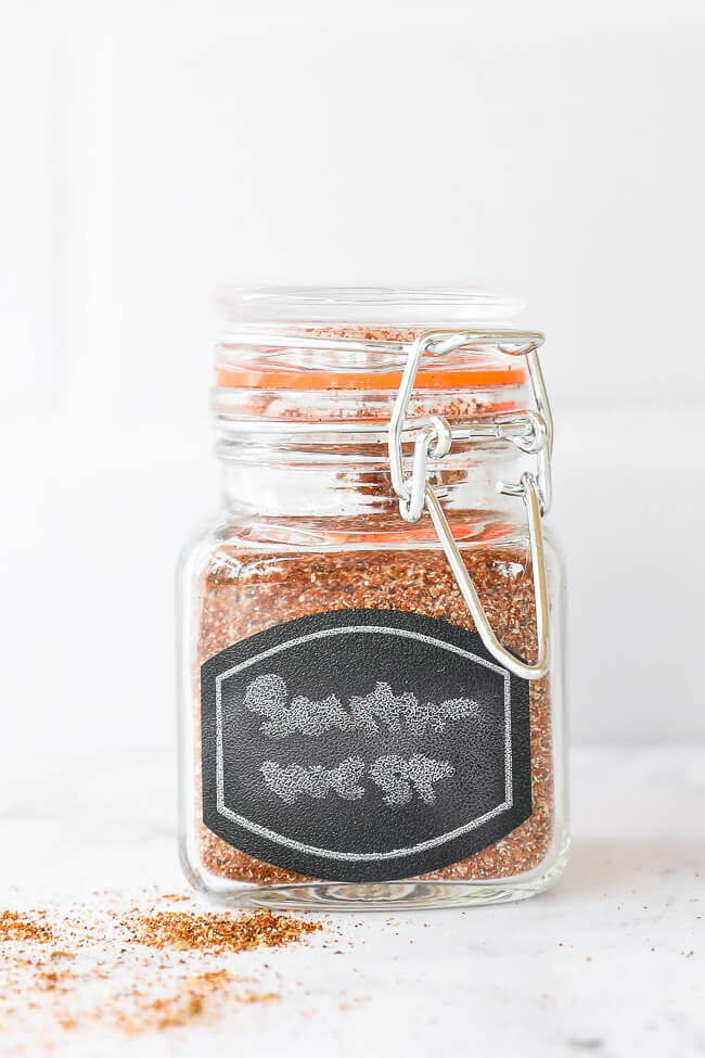 Southwest seasoning in a jar with label