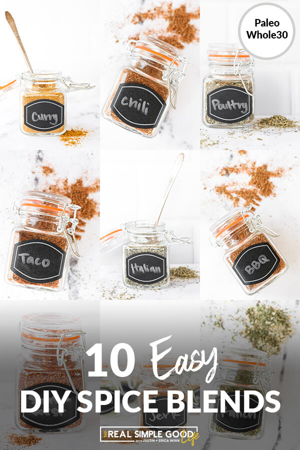 Photo collage of 10 easy diy spice blends in jars