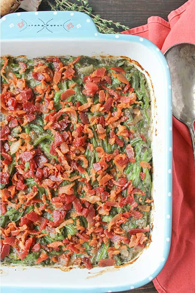 Green bean casserole overhead shot with bacon toppings - healthy casseroles