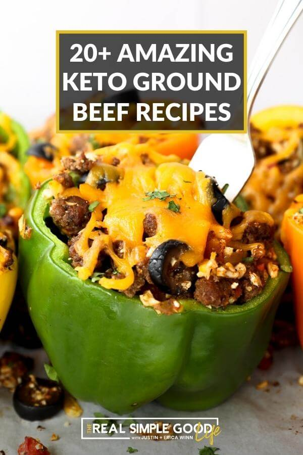 Stuffed pepper image with text overlay of 20+ amazing keto ground beef recipes