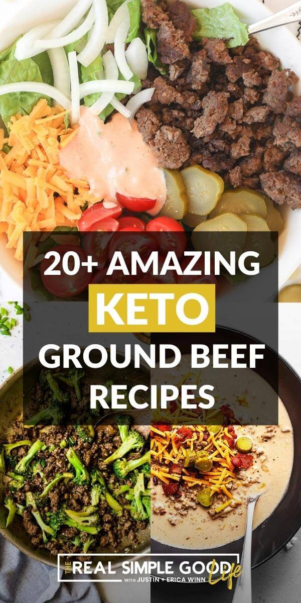 Keto ground beef image collage with text overlay