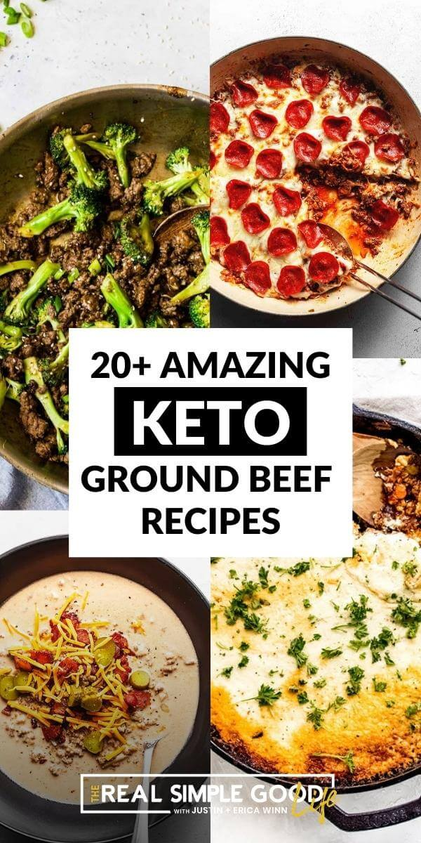 amazing keto ground beef recipes collage with text overlay