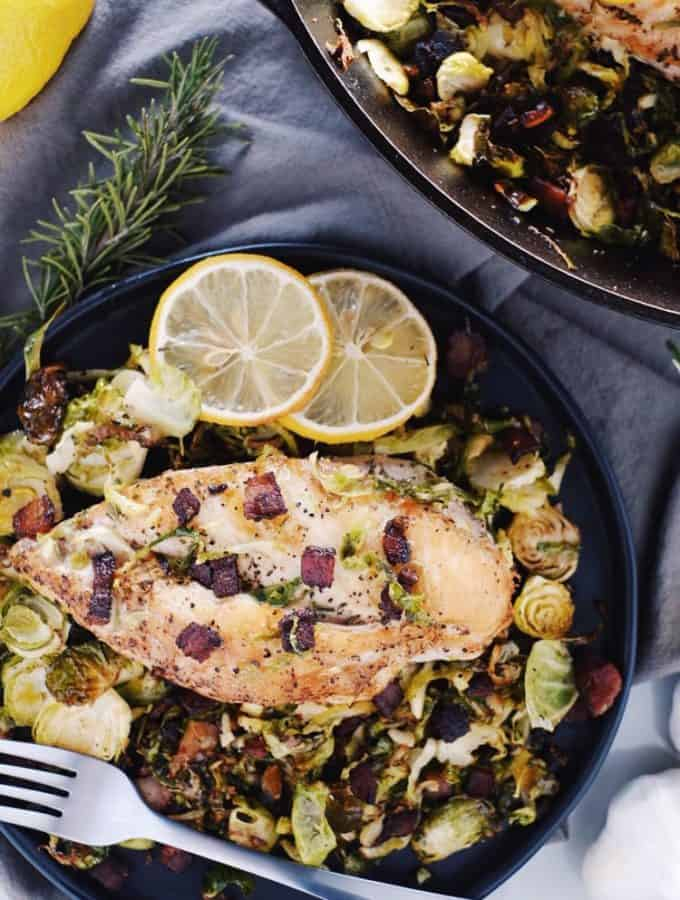 Chicken Skillet with Bacon Brussels Sprouts (Paleo + GF)
