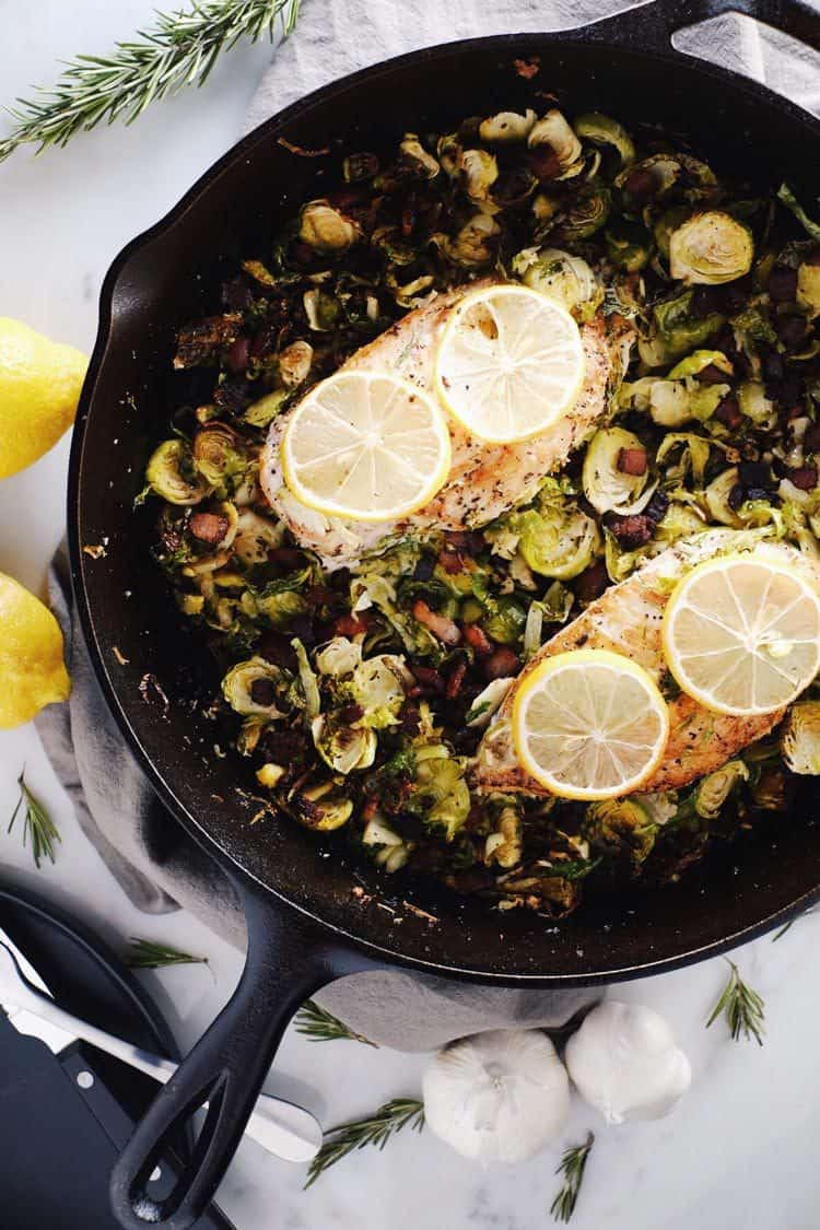 This one pan chicken skillet with bacon brussels sprouts is refreshing and flavorful. It's great for a weeknight dinner with minimal effort. Paleo + Gluten-Free. | realsimplegood.com