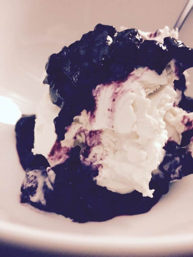 Paleo Vanilla Ice Cream with Blueberry Sauce