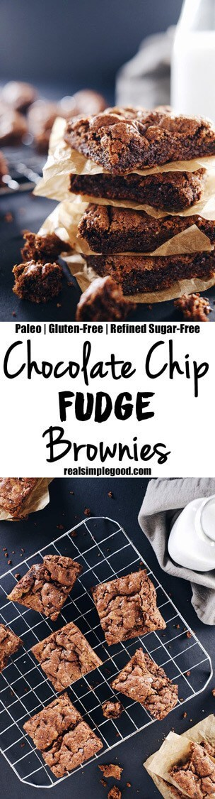 Serve these paleo chocolate chip fudge brownies up! They'll be a hit with your whole family! They're allergy-friendly and delicious! Paleo, Gluten-Free + Refined Sugar-Free. | realsimplegood.com