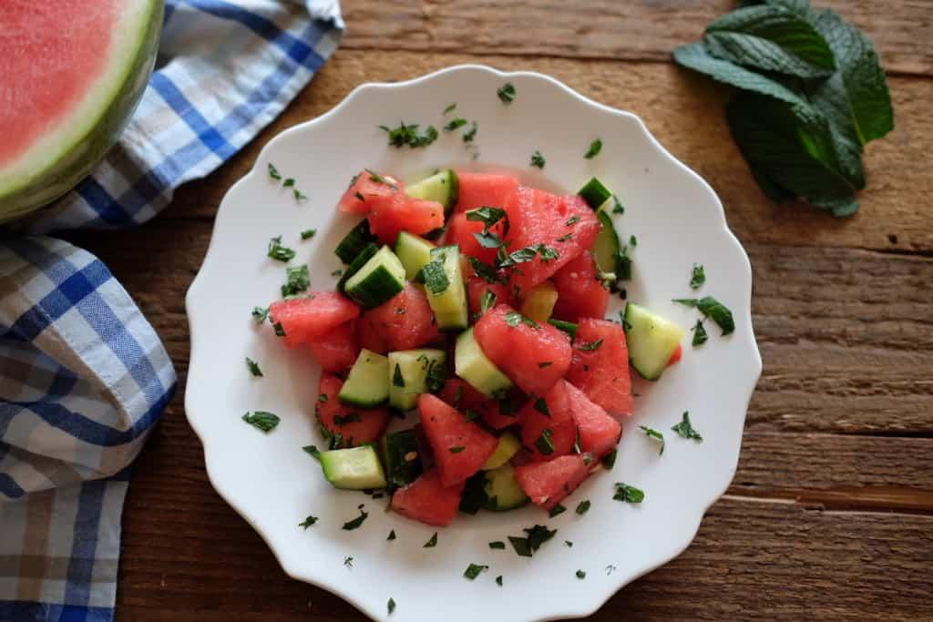Watermelon cucumber mint salad