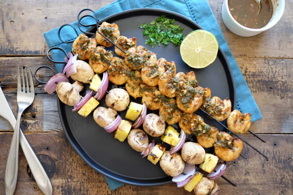 Cilantro garlic shrimp skewers 2