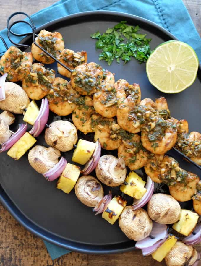 Cilantro Garlic Shrimp Skewers