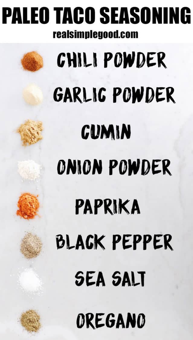 Paleo taco seasoning image with ingredients and text