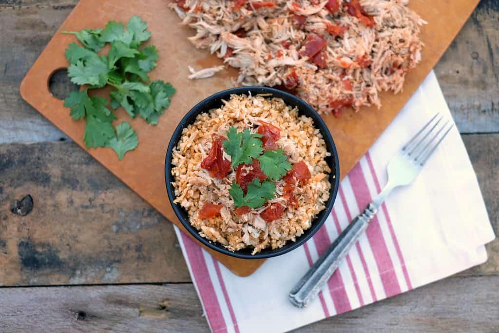 Crockpot enchilada chicken bowls two
