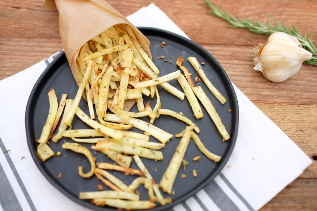 Garlic rosemary parsnip fries two