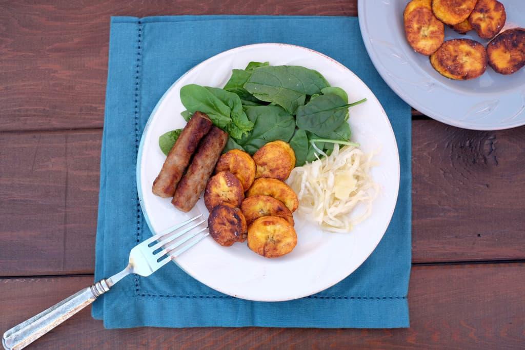 Pan fried plantains three