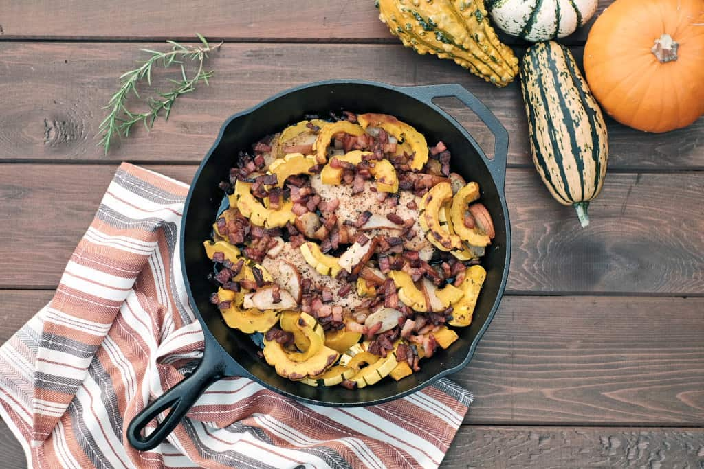 Pear and squash chicken skillet four