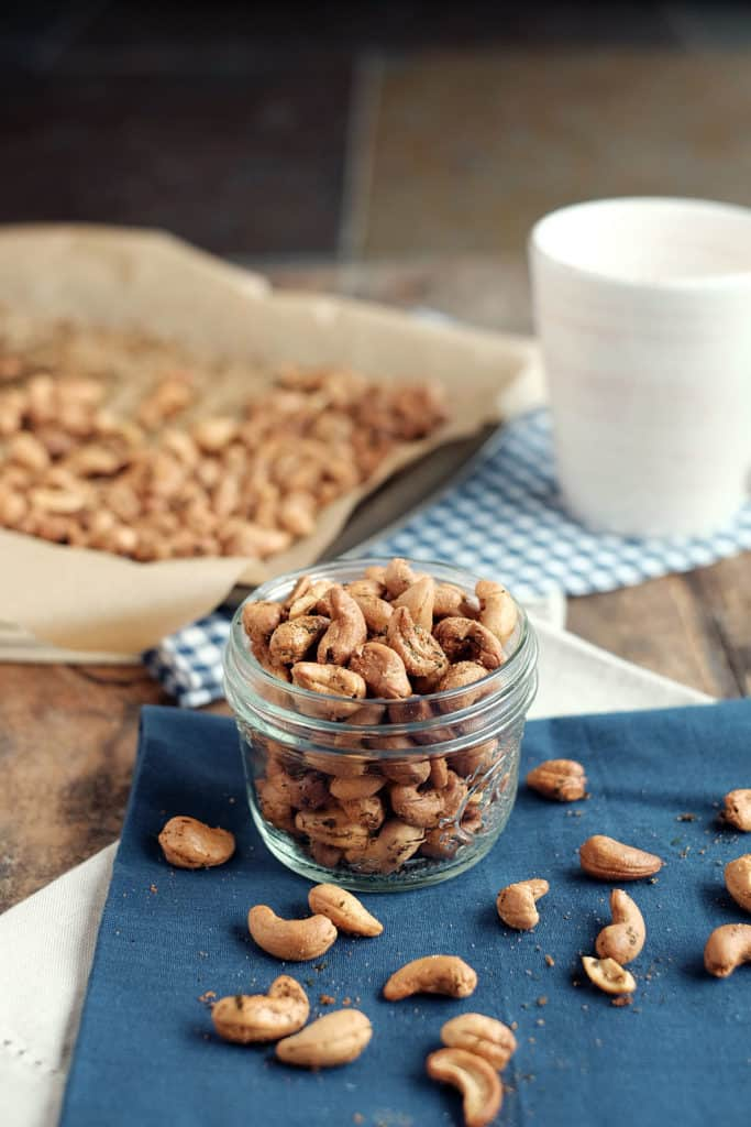 A simple snack to have on hand for a party or for a quick snack, these ranch roasted cashews are easy to make and won't last long! Paleo, clean, and easy! | realsimplegood.com