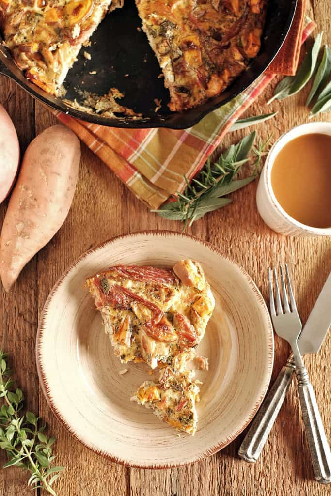 This ham and turkey frittata is a perfect way to use up your Thanksgiving leftovers and create an entirely new dish to feed your family in the morning. Ham, turkey, eggs, sweet potato and some seasonings and you have a thanksgiving leftover breakfast to feed the family with again! Paleo, Gluten-Free, Dairy-Free. | realsimplegood.com