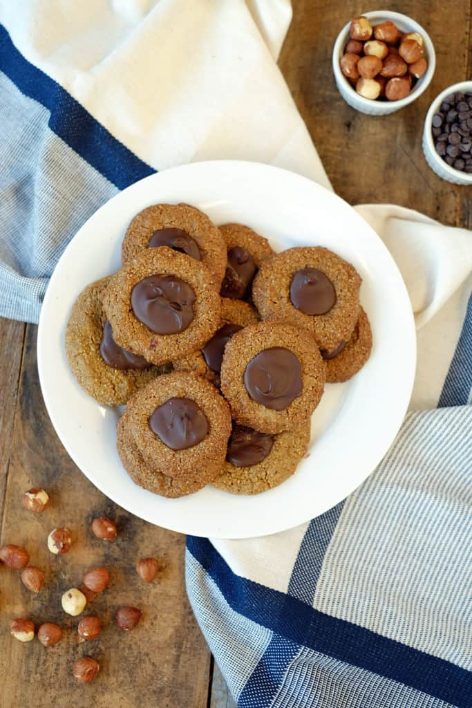 Hazelnut thumbprint cookies