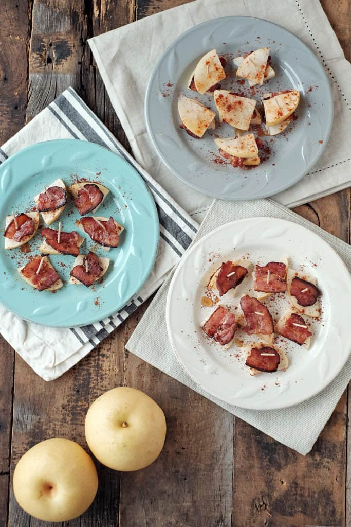 Looking for a unique paleo appetizer? Look no further. We have you covered here with these quick and easy pear and bacon bites. Salty, sweet, and easy! | Paleo, clean, & easy! | realsimplegood.com