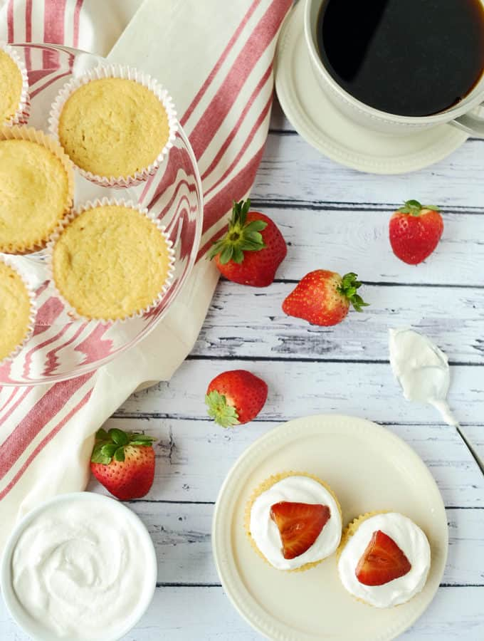 Balsamic Strawberry Topped Lemon Cupcakes (Valentine's Day Cupcakes)