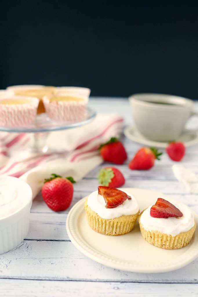 Balsamic strawberry topped lemon cupcakes two
