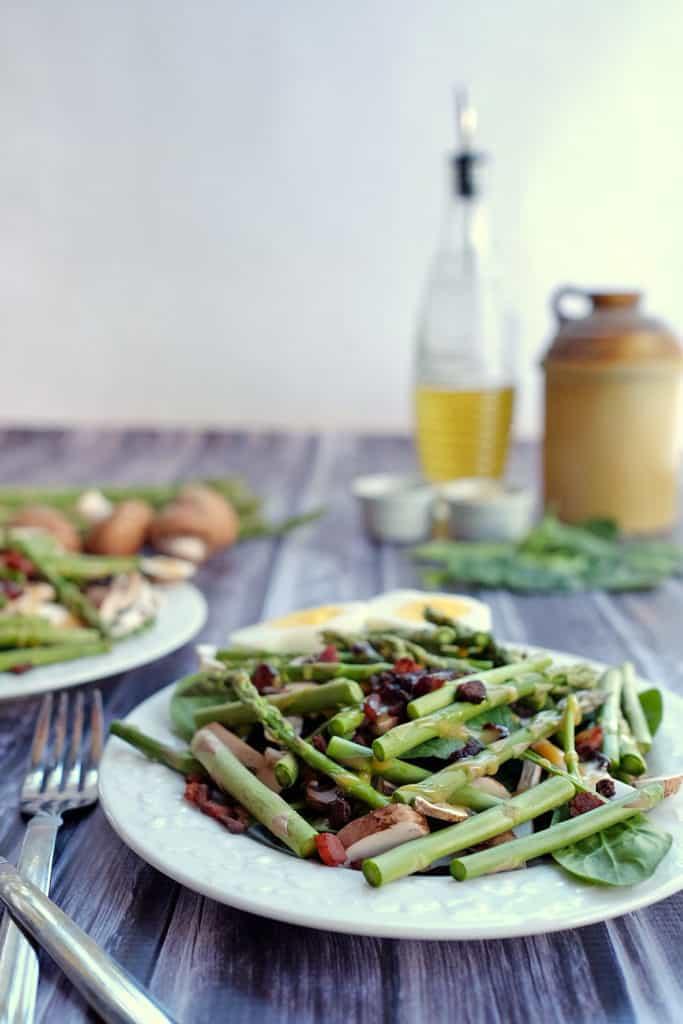Honey mustard asparagus bacon salad