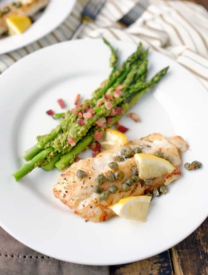 Pan Fried Cod with Pesto Bacon Asparagus (Paleo + Whole30)