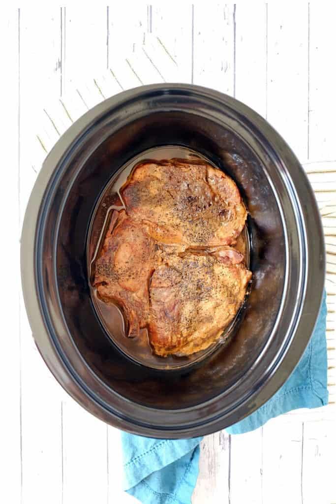 Crockpot honey balsamic pork chops three