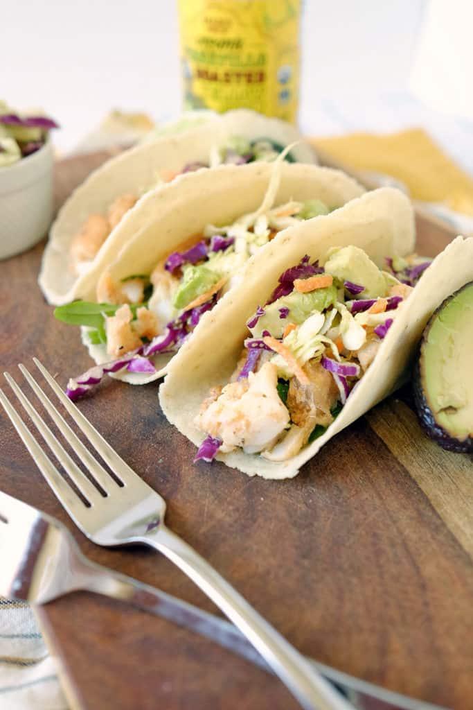 Paleo fish tacos and coleslaw three