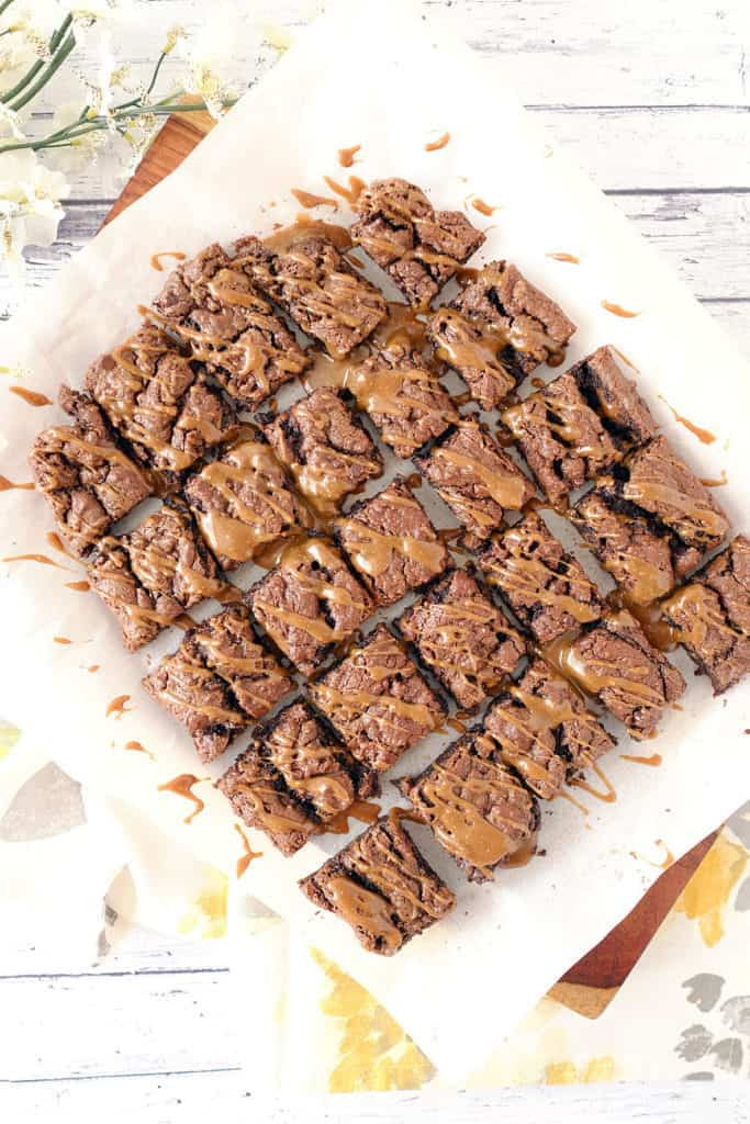 Salted caramel double chocolate brownies two