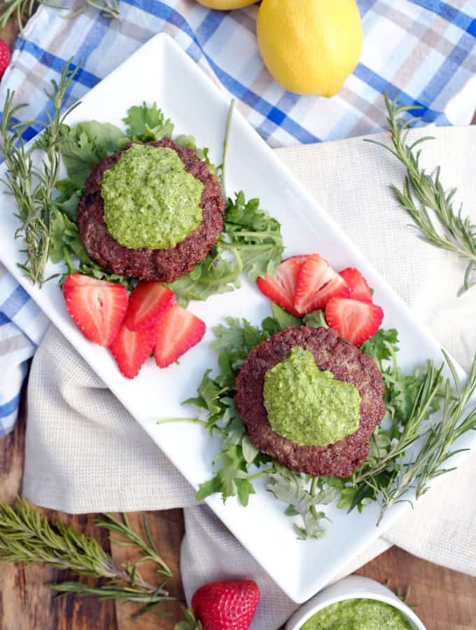 Lamb Burgers with Rosemary Pesto Sauce (Paleo, Whole30 + Dairy-Free)