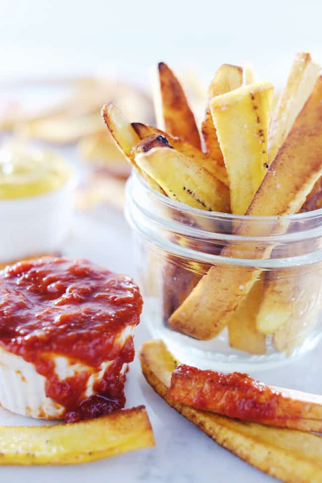 These paleo plantain fries are our cleaned-up version of an old guilty pleasure. They are sure to satisfy any cravings for fries on your Whole30 too. Whole30, Gluten-Free + Paleo. | realsimplegood.com