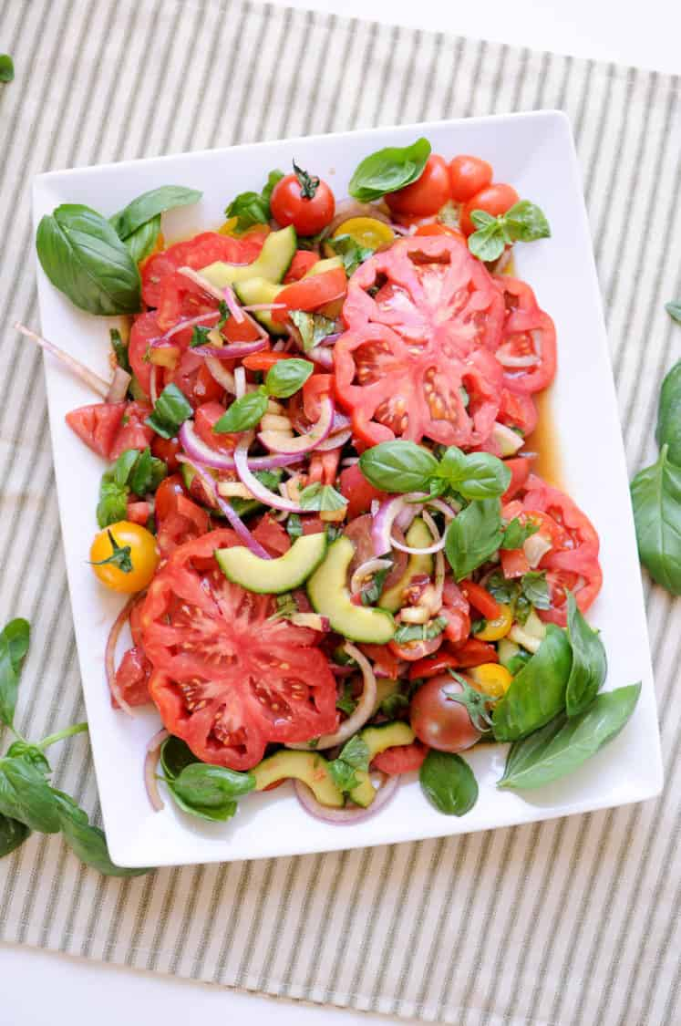 This healthy summer salad roundup has 10 healthy options for your next cookout or meal. Fresh, unique and beautiful, you can't go wrong with any recipe! Paleo and Gluten-Free. | realsimplegood.com