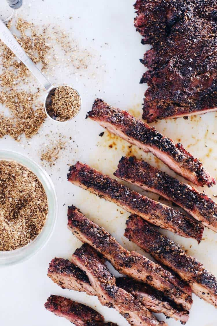 Kick it up a notch with this coffee rubbed steak. A simple and elegant way to prepare any steak, the coffee rub is easy to make with only 8 ingredients. Paleo + Gluten-Free. | realsimplegood.com