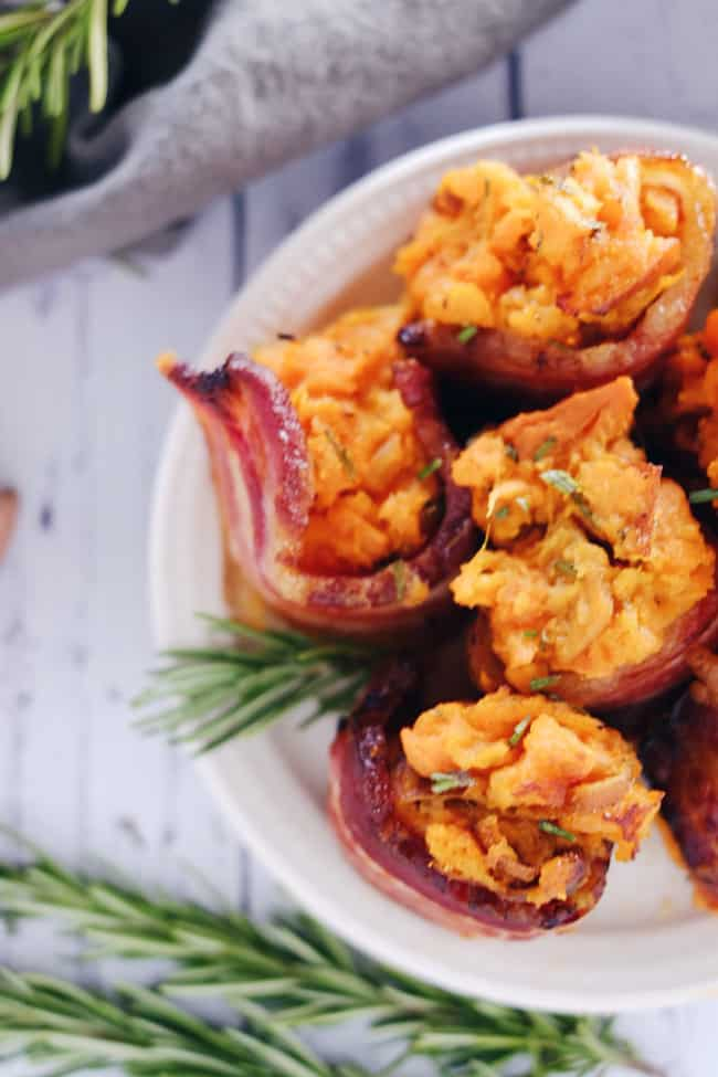Mashed sweet potato bacon cups. That's a mouthful! They're an oversized single-bite Paleo + Whole30 appetizer or side dish you won't be able to stop eating! Paleo, Whole30, Gluten-Free + Whole 30. | realsimplegood.com