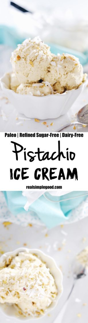 A creamy bowl of ice cream hits the spot on a long summer day. This no churn pistachio ice cream is full of nutty, slightly salty and sweet flavors. Paleo, Gluten-Free, Dairy-Free + Refined Sugar-Free. | realsimplegood.com