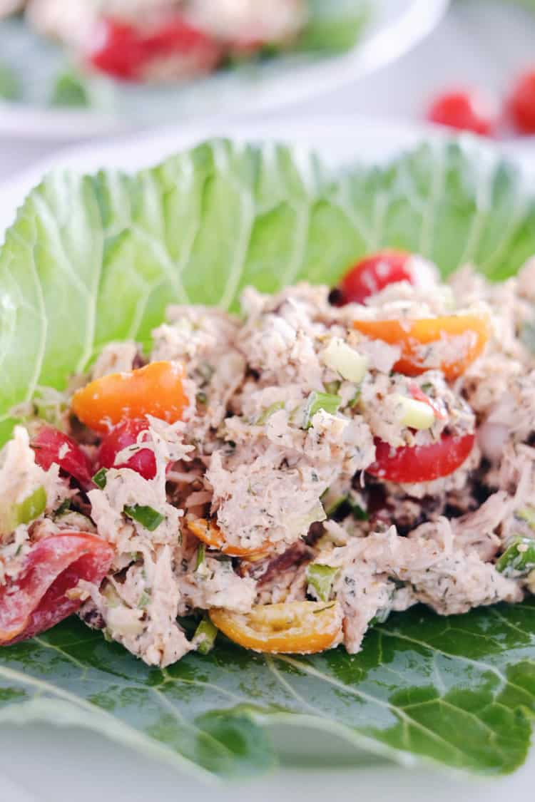 We've got all the flavors of a BLT wrapped up in this Paleo + Whole30 BLT chicken salad! We love to eat it in lettuce shells or as an easy snack + dip. Paleo, Whole30, Gluten-Free + Dairy-Free.   realsimplegood.com