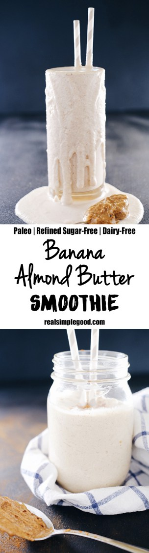 Of all the smoothies, I make this banana almond butter smoothie the most. Four simple ingredients, and it is so good you'll have it on repeat! Paleo, Gluten-Free, Dairy-Free + Refined Sugar-Free. | realsimplegood.com