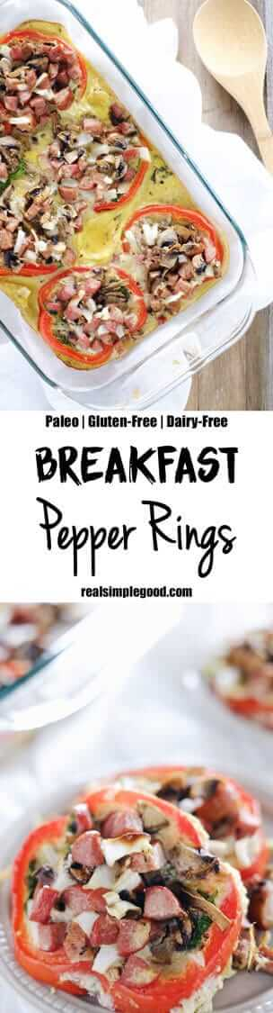 These breakfast pepper rings are the perfect Paleo + Whole30 make ahead breakfast for your busy work week! Quick and easy to make with simple ingredients. Paleo, Whole30, Gluten-Free + Dairy-Free. | realsimpelgood.com