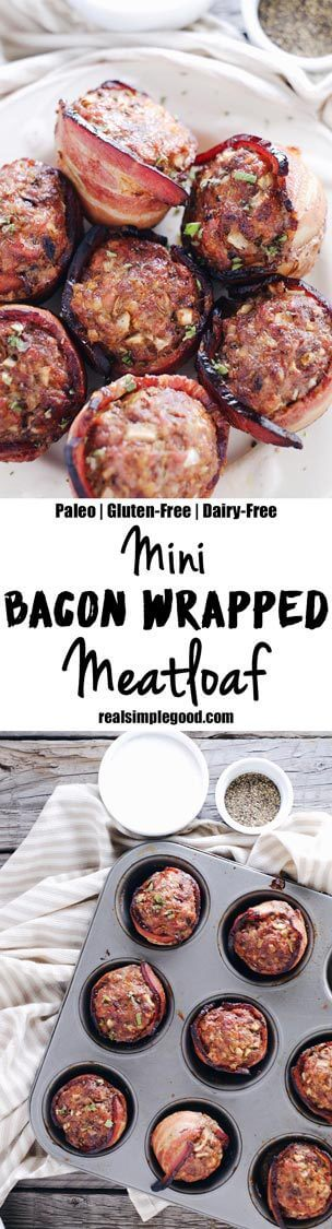 This mini bacon wrapped meatloaf recipe is a winner for many reasons! Paleo + Whole30, they are great for breakfast, lunch, or dinner! Did I mention bacon? Paleo, Whole30, Gluten-Free + Dairy-Free. | realsimplegood.com