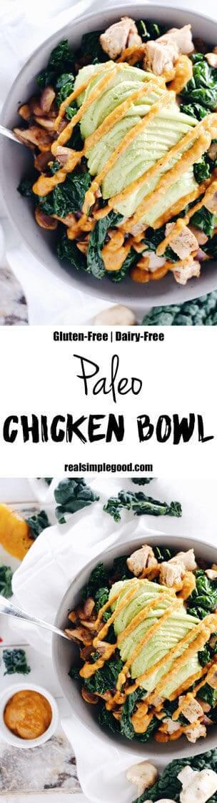This paleo chicken bowl has the most delicious roasted pepper sauce. Clean and Whole30 with only eight ingredients, you can prepare it in under 30 minutes. Paleo, Whole30, Gluten-Free + Dairy-Free. | realsimplegood.com