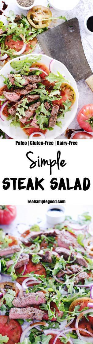 We love this simple steak salad because there are just a handful of ingredients, nothing flashy or obscure. A simple and delicious Paleo + Whole30 dish! Paleo, Whole30, Gluten-Free, + Dairy-Free. | realsimplegood.com