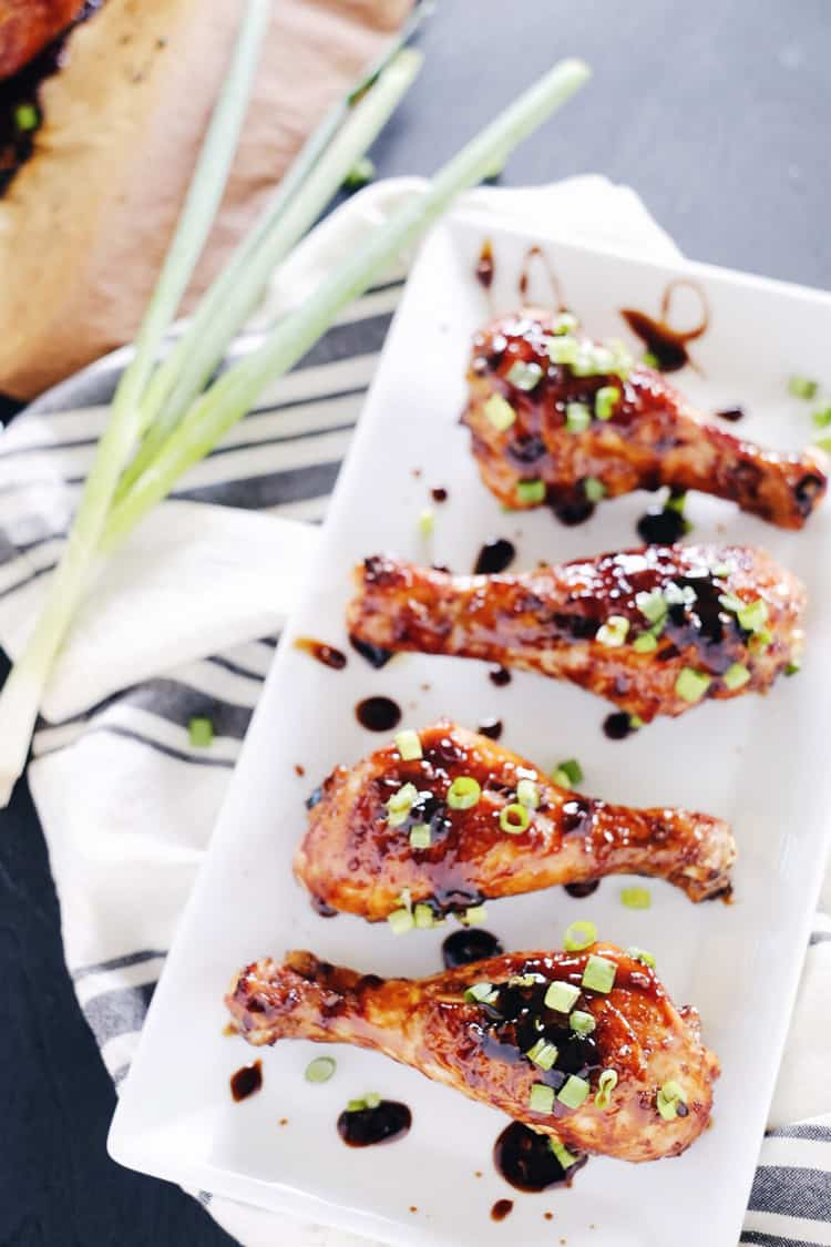 Make a pan of these balsamic glazed chicken drumsticks. You won't be able to help but lick the tasty goodness right off your fingers. You will love the combo of balsamic, coconut aminos, ginger and garlic. Paleo + Gluten-Free. | realsimplegood.com