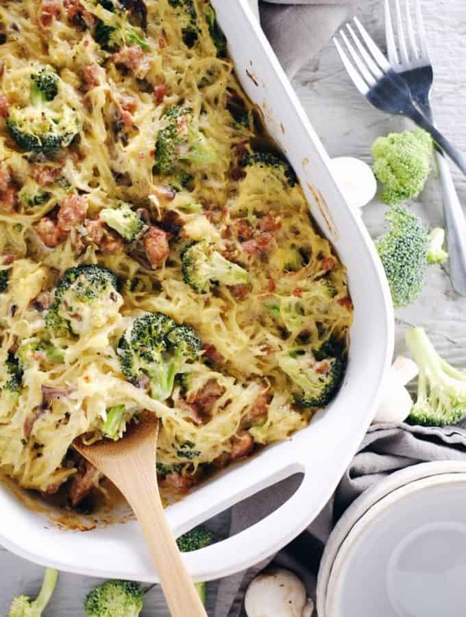 Creamy Garlic Spaghetti Squash Casserole (Paleo, Whole30 + Dairy-Free)