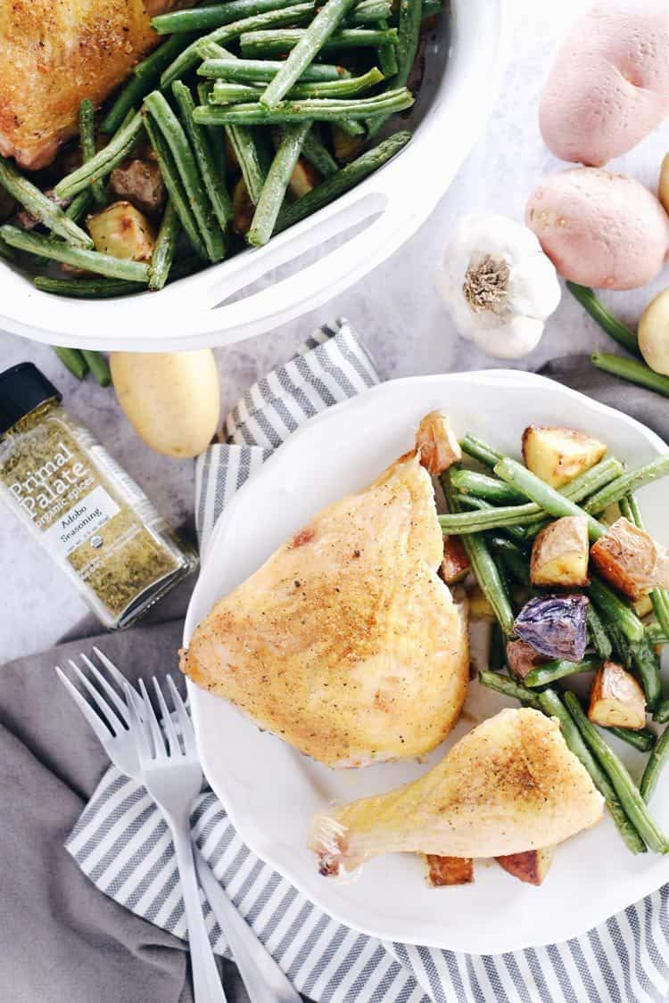 This one pan herb roasted chicken and veggies dish is so full of flavor from only 4 main ingredients! Paleo + Whole30, it's a breeze to make and clean up! Paleo, Whole30, Gluten-Free + Dairy-Free. | realsimplegood.com