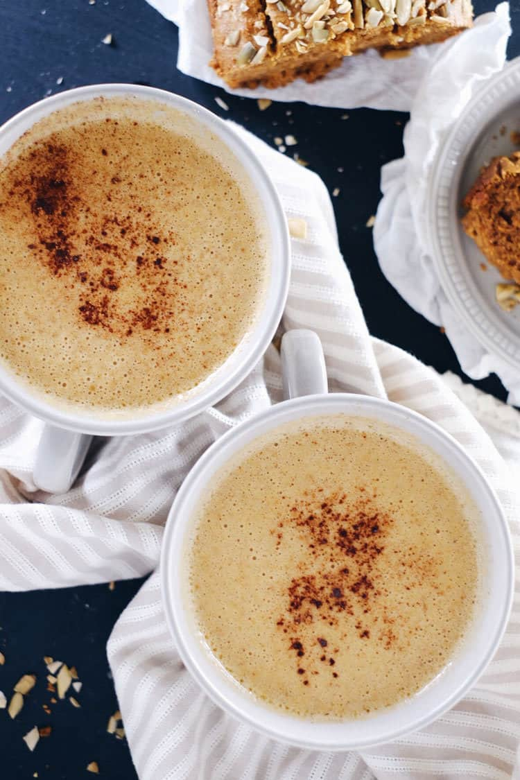 pAfter ending my affair with coffee, I got the idea to create a caffeine-free and paleo friendly pumpkin chai latte to stay cozy this fall and winter! Caffeine-Free, Dairy-Free + Refined Sugar-Free. | realsimplegood.com