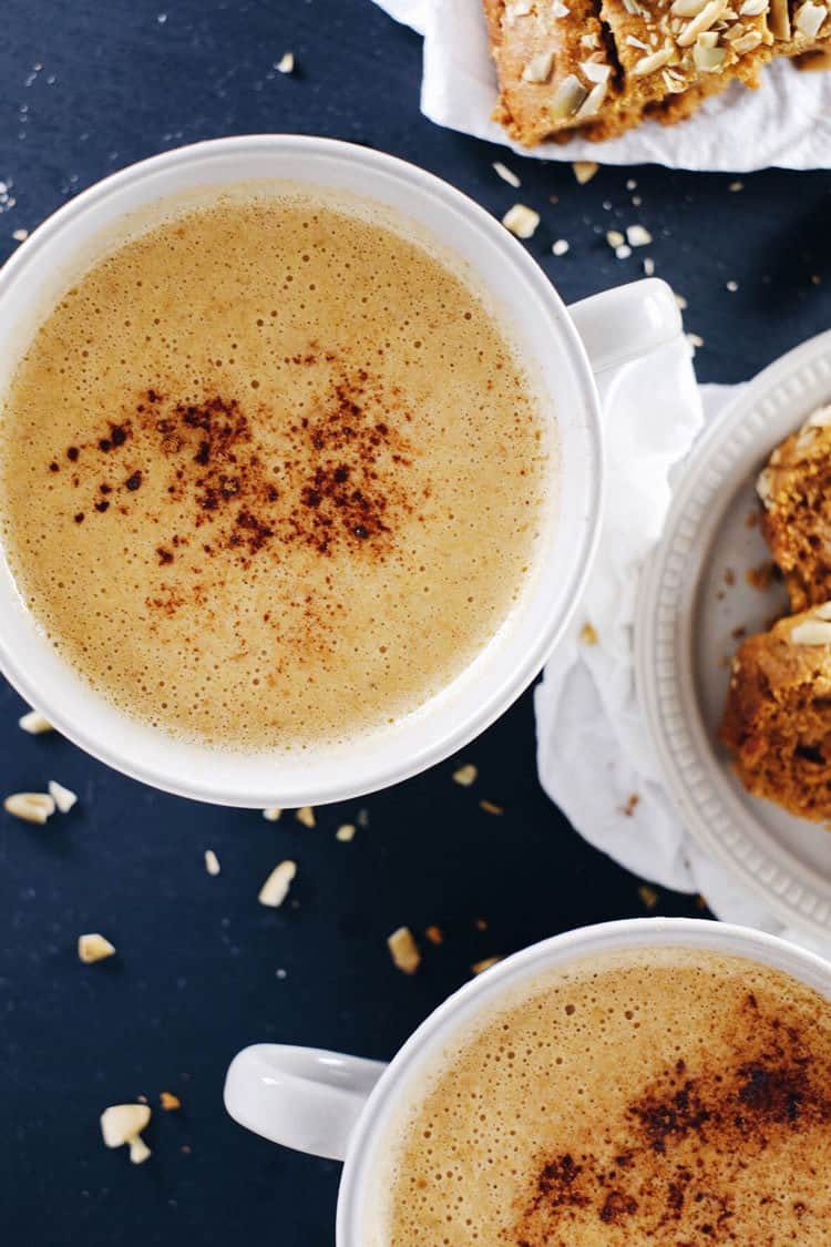 After ending my affair with coffee, I got the idea to create a caffeine-free and paleo friendly pumpkin chai latte to stay cozy this fall and winter! Caffeine-Free, Dairy-Free + Refined Sugar-Free. | realsimplegood.com