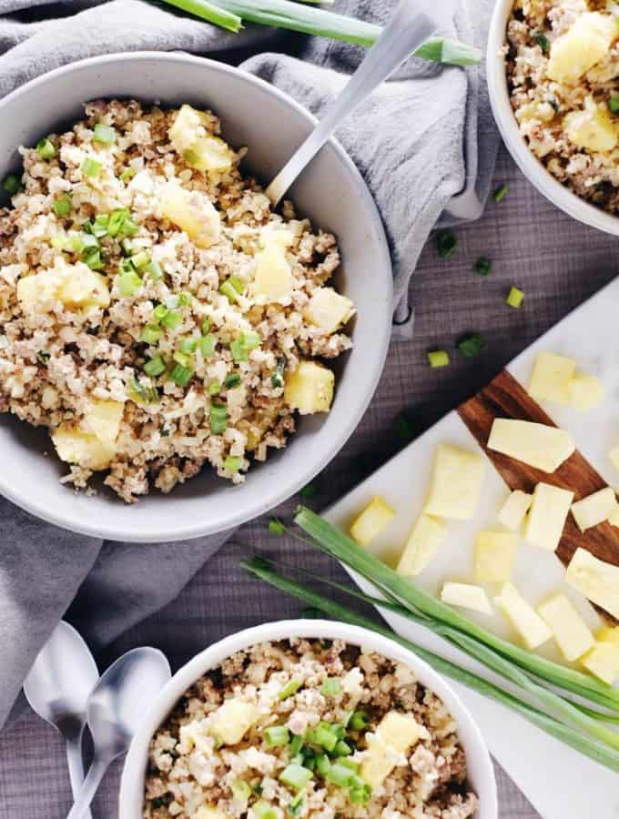 Spicy Pineapple Cauliflower Pork Fried Rice (Paleo, Whole30 + Dairy-Free)