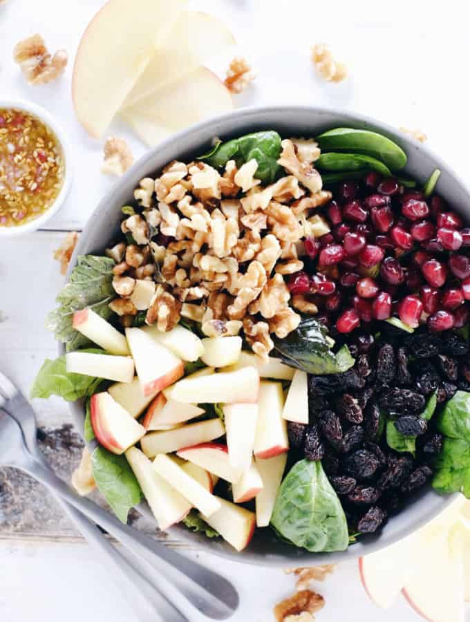 Apple Walnut Spinach Salad (GF, Dairy-Free + Refined Sugar-Free)