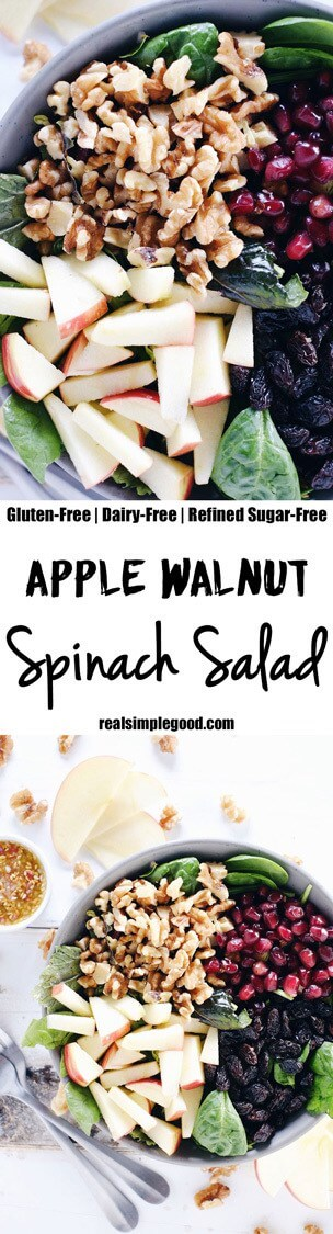 This apple walnut spinach salad is a great way to make lunches during the week a breeze by adding your favorite proteins to make it a complete meal! Paleo, Gluten-Free, Dairy-Free + Refined Sugar-Free. | realsimplegood.com