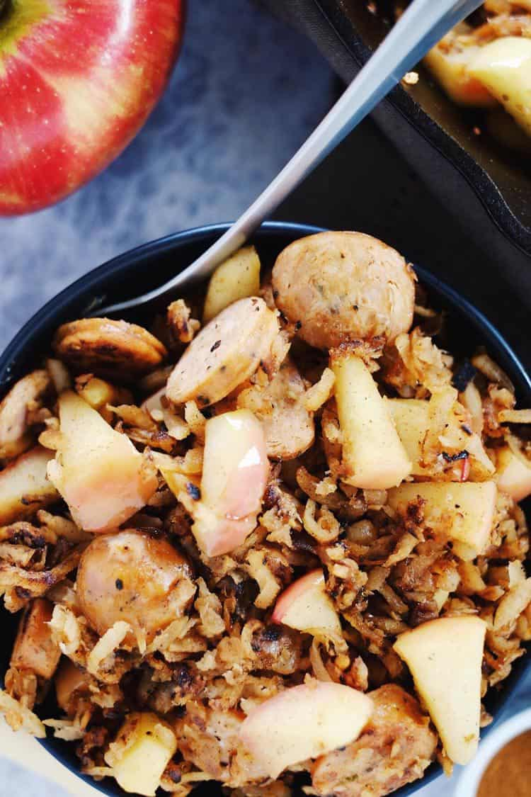 This egg-free parsnip breakfast hash is the perfect savory-sweet way to start your day with parsnips, sausage and apples. Paleo + Gluten-Free. | realsimplegood.com